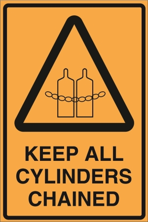 Hazard - Keep all cylinders chained - 450x600