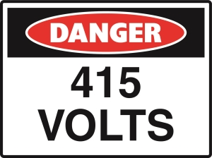Danger - 415 Volts - 600x450