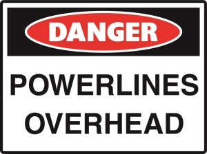 Danger - Powerlines Overhead - 600x450