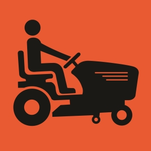 Mower Symbolic - A Size 600x600 - Corflute - Bl/Orange