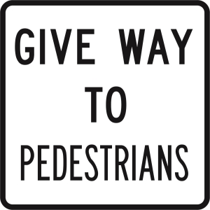 Give Way To Pedestrians - Cl1 Black/White