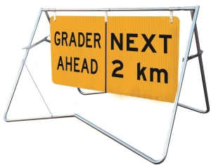 Grader Ahead | Next 2km - 1200x600 - Mounted on swing stand