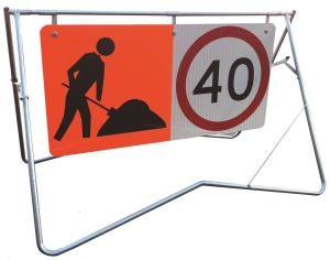 1200 x 600 - 40km/Worker | 50km/End Road Work- Mounted on 1200 x 600 Swing Stand