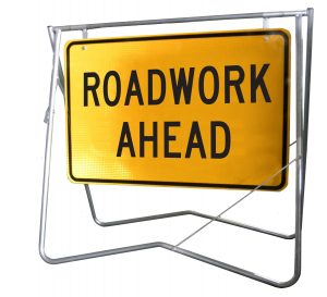 Roadwork Ahead - 900 x 600 - Mounted on Swing Stand