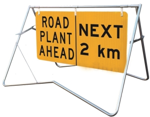 Road Plant Ahead | Next 2km - 1200x600 - Mounted on swing stand